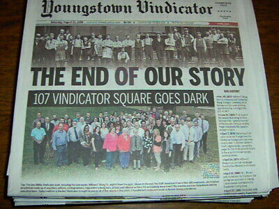Two Copies Youngstown Vindicator Final Edition Newspaper Aug 31 2019 Free Ship