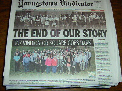 YOUNGSTOWN VINDICATOR FINAL EDITION NEWSPAPER AUGUST 31 2019 W/ poly sleeve