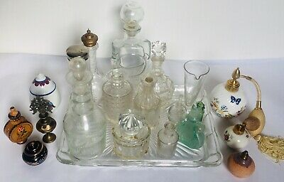 Joblot Vtg Antique Empty Perfume Bottles Art glass Crystal Atomisers Balenciaga