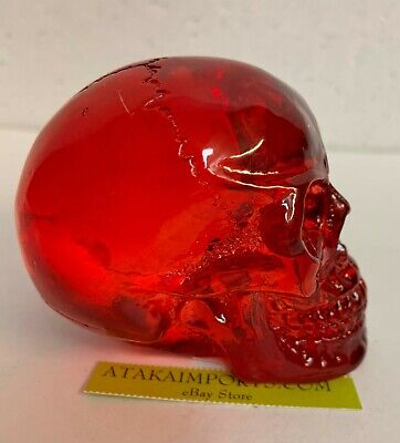 "2"" Tall Red Translucent skull Figurine Statue Halloween Decoration"