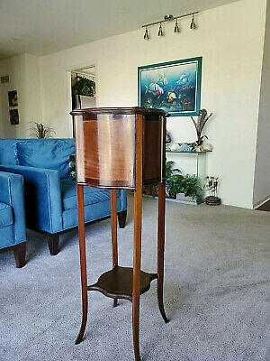 Antique - Drum-Top, Curved Wood Basket, Tall Plant Stand