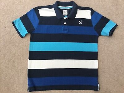 Crew Clothing Polo Shirt  'Age 8/9' Blue With Logo 93 Good Condition No Reserve