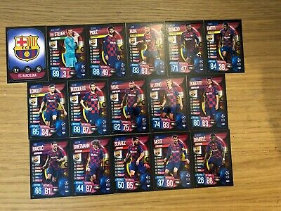 Match Attax 2019/20 Barcelona Full Team Set Of All 16 Cards Mint