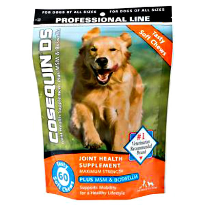 COSEQUIN DS MAX STRENGTH JOINT SUPPLEMENT MSM+BOSWELLIA SOFT CHEWS 60ct RET $35