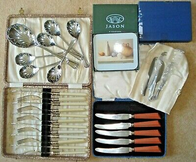 Job Lot Vintage EPNS cutlery Art Deco Arts & Crafts fish butter spoons cased box