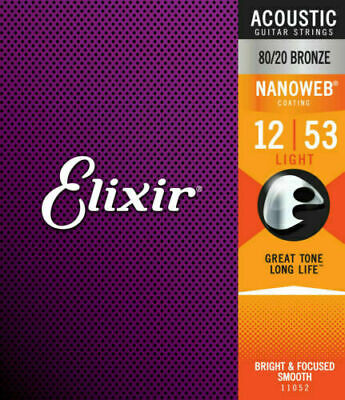 Elixir 16052 12-53 Acoustic Guitar Strings  Phosphor Bronze Nanoweb Light *New*