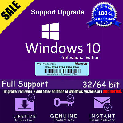 Win 10 Pro 32/64 Bit License Key_Support Upgrade To Pro
