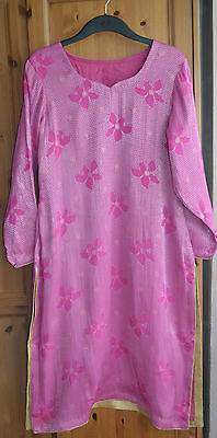 NEW Pakistani 3 Piece Suit Salwar Kameez Stitched Pink Agha Noor Style Gold