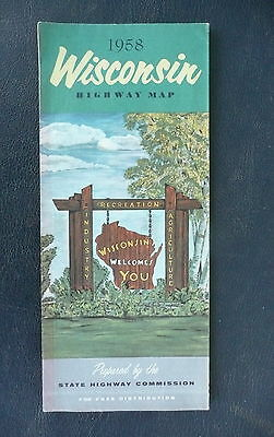 1958 Wisconsin  official highway state road  map