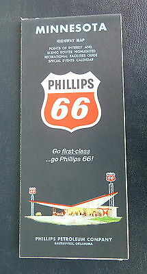 1964 Minnesota road   map Phillips 66  oil gas