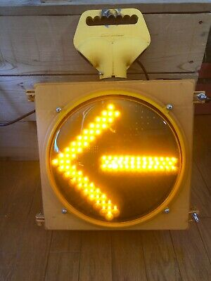 "Retired Traffic Signal Light Single Yellow Arrow LEDS Cave 12"" South Carolina"