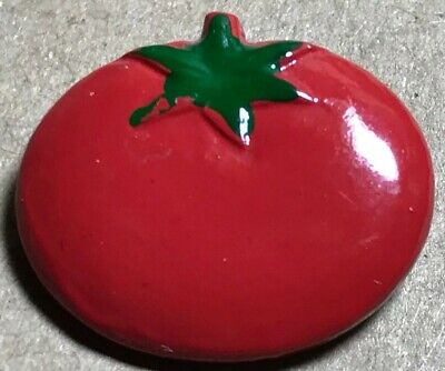 "Harder to Find JHB Handpainted TOMATO Realistic Metal Button Fruit 3/4"" GR8 Red"