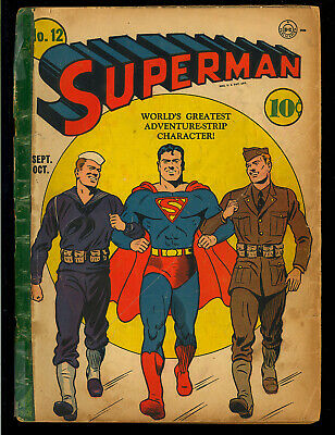 Superman #12 (Coupon Out) Early Golden Age DC Superhero Comic 1941 FR*