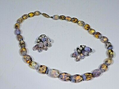 French Art Deco Period Fire Opal Foil Glass Necklace And Earrings