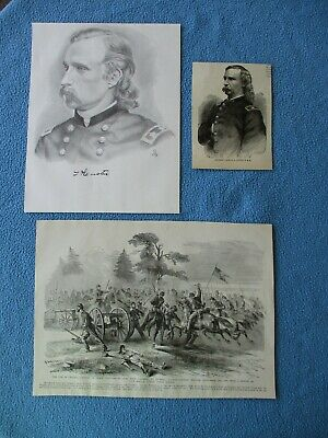 1885 Civil War Prints of General Custer's Cavalry at Culpepper + 2 Custer Images