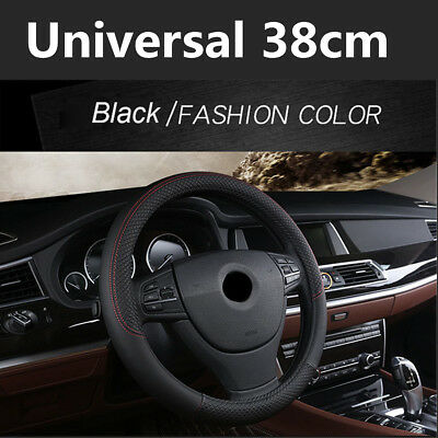 Sport Embossed Style 38CM PU Leather Car Steering Wheel Protector Cover AntiSlip