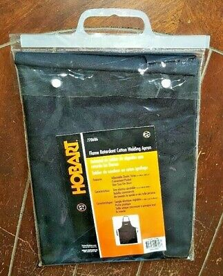 "Hobart 24"" Wide/36""Long Flame Retardant Black Cotton Welding Apron #770686"