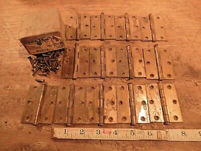 antique hinges lot vintage door hinge hardware  2 1/2 ins. X 2 1/2 ins. QTY.  13