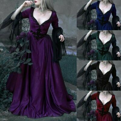 Womens Victorian Style Gothic Dress Sleeve Evening Wedding Cosplay Vintage Dress