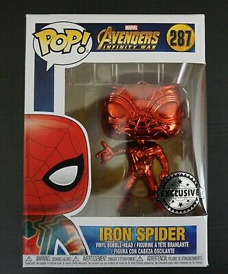 Funko POP! Marvel Avenger Red Chrome Iron Spider Man 287 Excl. w Pop Protector