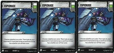 TRANSFORMERS TCG Rise of the Combiners Wave 2 Rare Battle Card ESPIONAGE x3