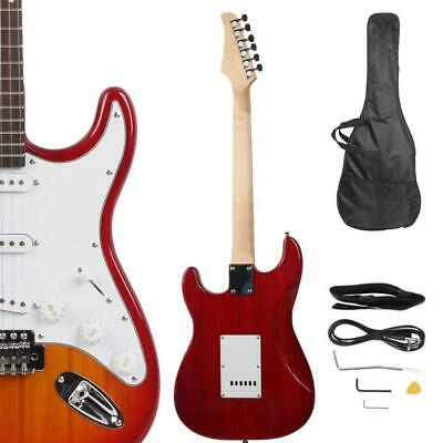 Sunset Red School Music Electric Guitar Set w/ Gig Bag Strap Cord for Beginner