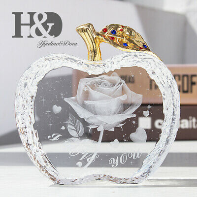 Engraved Rose Crystal Ornament Glass Apple Shape Figurine Paperweight Gift Deco