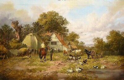 Large 19th Century English Farm Horses Ducks Pigs Chickens J F HERRING Landscape
