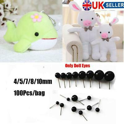100Pcs/Bag Black Glass Eyes Wholesale For Bears Animals Dolls 4/5/7/8/10mm