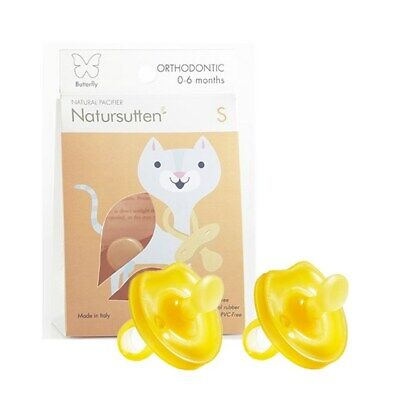 Natursutten 2 Pack Orthodontic BPA Free Natural Rubber Pacifier,0-6 Months Babys