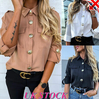 Women Military Army Vintage Shirt Ladies Collared Long Sleeve Casual Blouse Tops