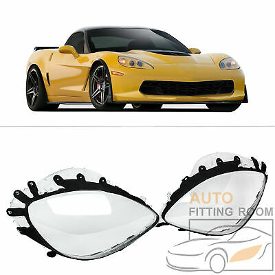 New Replacement Pair Headlight Lenses +  Black Gaskets For C6 Corvette 2005-13