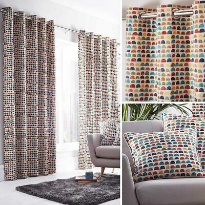 Geometric Eyelet Curtains Multicolour Modern Ready Made Lined Ring Top Pairs