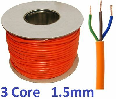 Orange 1.5mm 2.5mm Electrical Cable  Round Mains Wire Flex 3 Core UK 3183Y