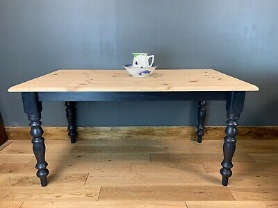 Rustic Rectangle Pine Table Farmhouse Country  KItchen Dining Shabby Chic Navy