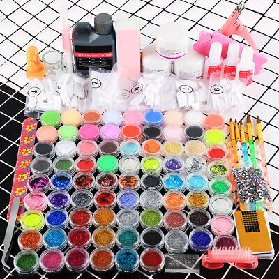 Pro Acrylic Nail Kit Liquid & Powder Glitter Nail UV Gel Brush Tips Nail Art Kit