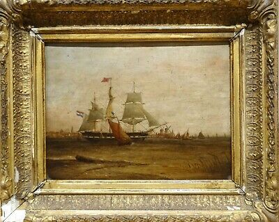 19th Century Dutch Navy Ship Off Amsterdam Harbour Marine Oil Painting Antique