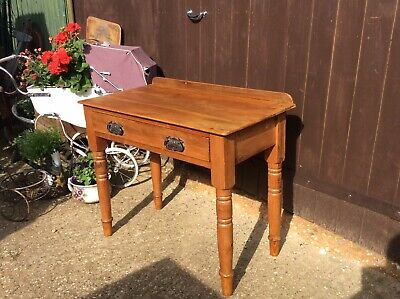 Antique Vintage Pine Solid Wood Console Hall Table With Drawer Lovely