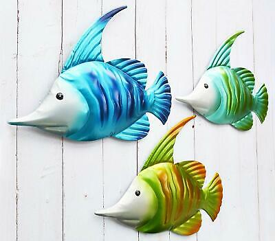 GIFTME-5 Metal Fish Wall Art Graden Decor Set of 3 Colorful  Wall Sculptures