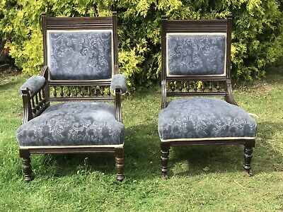 Matching His Hers Antique Fireside Grandfather Mother Armchair Parlour Arm Chair