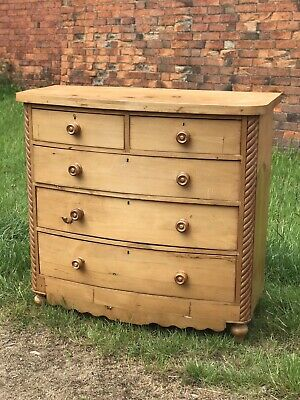 Vintage Large Wide Solid Pine Beautiful Antique Chest Of Drawers Just Gorgeous