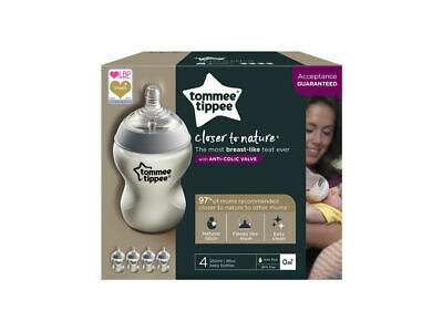 Tommee Tippee Closer to Nature Baby Feeding Bottles 260ml / 9oz 0m+ x 4 Bottles