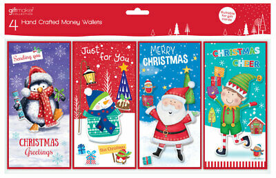 4 Cute Christmas Money Voucher Wallets Gift Cards & Envelopes Hand Crafted GC203