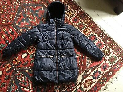NEXT Girls Blue Long Padded Shower Resistant Hooded School Outdoors Coat Age 10