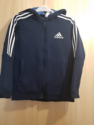 Genuine Adidas Boys Hoodie Navy Blue with Zip Age 11/12 Excellent Condition