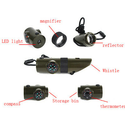 Military Emergency Survival Whistle Kit Compass Led Light Thermomet  EE