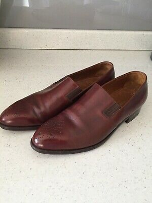 Vintage Bally of Switzerland brogue UK 7 mens full leather brown slip on shoes