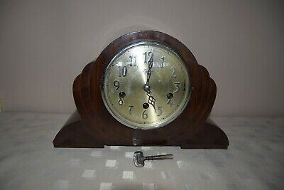 Vntage Wooden Case Tymo Face Westminster chime mantle clock - GOOD WORKING.