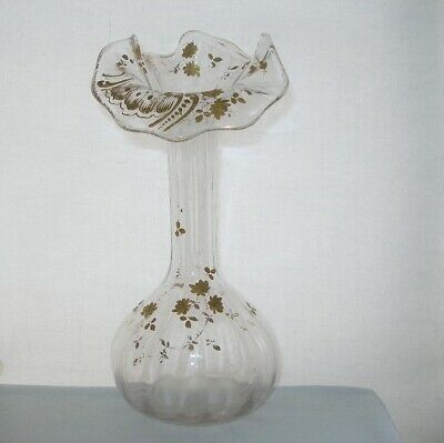 LUXURIOUSLY Elegant ART NOUVEAU Glass VASE Jack in the Pulpit HAND PAINTED GOLD