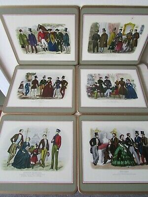VINTAGE PIMPERNEL 19th CENTURY FASHION X 6 PLACE MATS, BOXED.